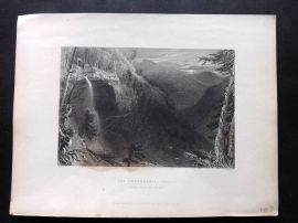 Bartlett America C1840 Print. The Caterskill Falls (From above the Ravine) USA